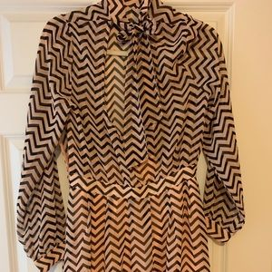 Long sleeve chevron mini dress